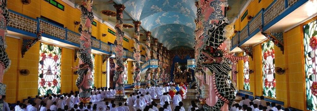 Inside a Cao Dai Temple in Vietnam