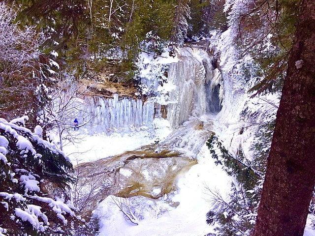 Frozen waterfall in Pictured Rocks, Michigan